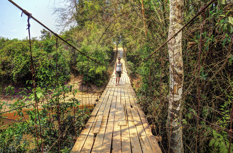 Swinging rope suspension bridge in Ratankiri, Cambodia