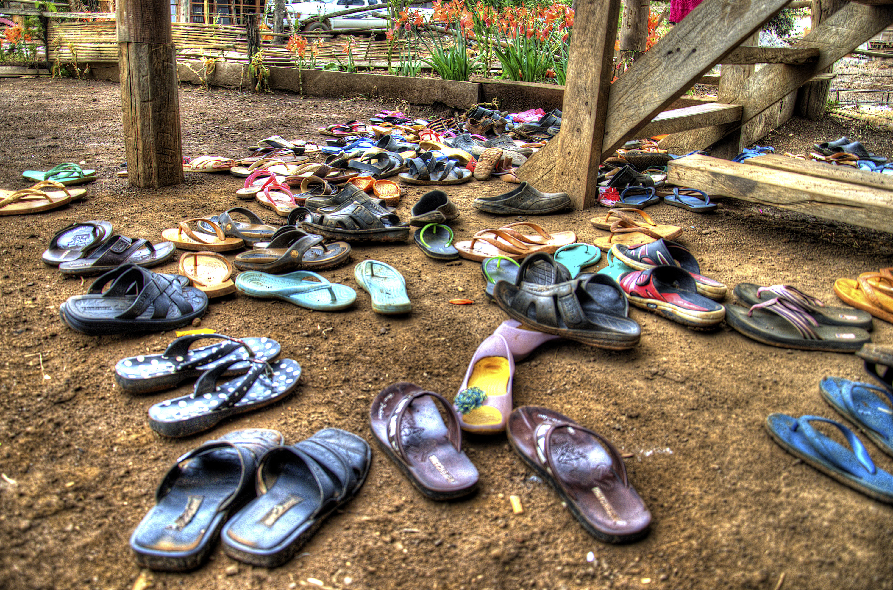 Sandals at the base of a Kreung indigenous church