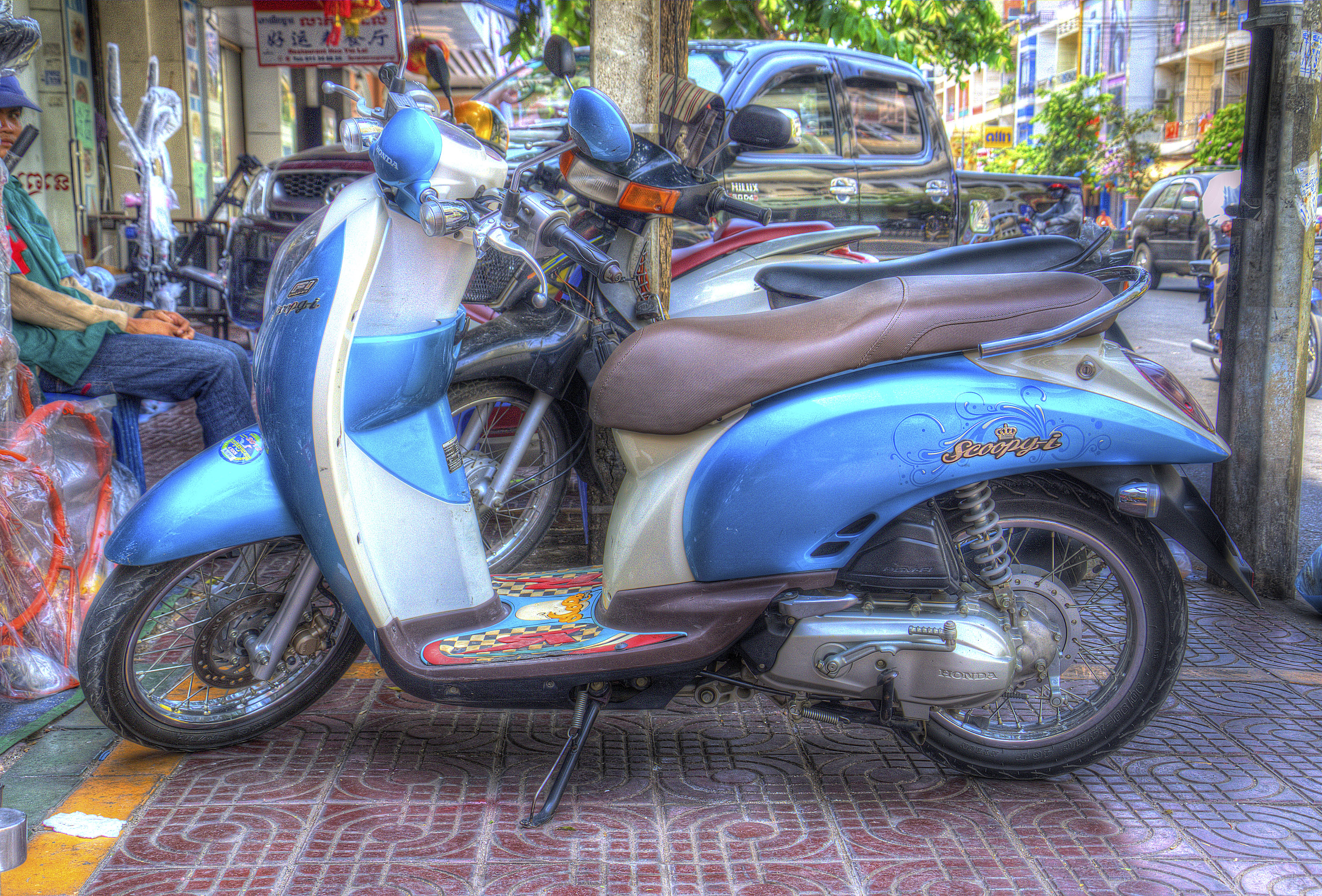 One of the ubiquitous mopeds darting around Ho Chi Minh